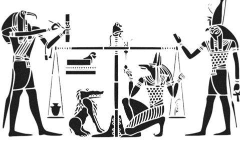 ציור מצרי עתיק, שוקלים לב במאוזנים